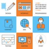 Vector el ejemplo de un sistema de diseño web linear de los iconos Enrarezca i Stock de ilustración