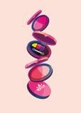 Vector el ejemplo de un sistema de polvo y de sombra de ojos del maquillaje libre illustration