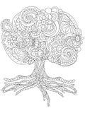 Vector el ejemplo de un tatuaje grande mullido del árbol Imágenes de archivo libres de regalías
