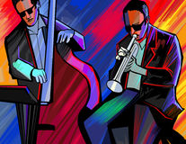 Banda de jazz con la trompeta y el bajo doble Imagen de archivo libre de regalías