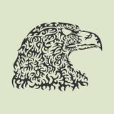 Vector el ejemplo de una cabeza del águila hecha de elementos modelados ilustración del vector