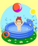 Vector el ejemplo de una chica joven que nada feliz en la piscina de goma con una bola Foto de archivo libre de regalías