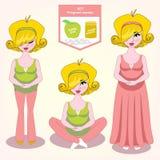 Vector el ejemplo de una comida sana del sistema para las mujeres embarazadas, Imágenes de archivo libres de regalías