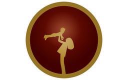 Vector el ejemplo de una madre del símbolo que pone en contraste con el niño en manos broncean en un fondo redondo del marrón osc Fotografía de archivo