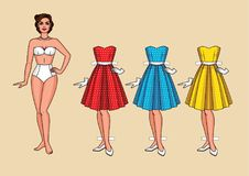 Vector el ejemplo de una mujer bonita joven con los vestidos de fiesta elegantes Fotos de archivo libres de regalías