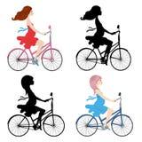 Vector el ejemplo de una mujer embarazada en una bici Imagen de archivo libre de regalías