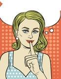 Vector el ejemplo de una mujer joven se sostiene el dedo índice en su boca Fotos de archivo