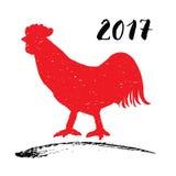 Vector el ejemplo de una silueta roja del gallo o del gallo, símbolo del Año Nuevo chino 2017 Foto de archivo libre de regalías