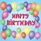 Vector el ejemplo de una tarjeta de felicitación del feliz cumpleaños con los globos coloridos Letras dibujadas mano Fotos de archivo