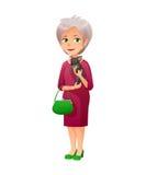 Vector el ejemplo de una vieja señora activa con el pequeño bolso, que se viste en un vestido elegante Ella es controles al peque Fotografía de archivo libre de regalías