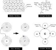 Vector el ejemplo de una vinculación metálica, vinculación del hidrógeno, ioni libre illustration
