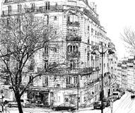 París debajo de la primera nieve del invierno ilustración del vector