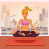 Vector el ejemplo de una yoga de la muchacha en la posición de loto Imagen de archivo