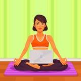 Vector el ejemplo de una yoga de la muchacha en la posición de loto Imagen de archivo libre de regalías