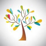 Vector el ejemplo del árbol abstracto con la hoja colorida Fotos de archivo libres de regalías