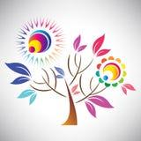 Vector el ejemplo del árbol colorido abstracto hermoso con el sol Foto de archivo libre de regalías