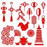 Vector el ejemplo del Año Nuevo chino y de los símbolos del gallo stock de ilustración