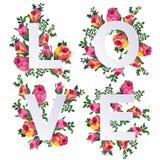 Vector el ejemplo del amor de la palabra adornado con las flores Imagen de archivo libre de regalías