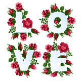 Vector el ejemplo del amor de la palabra adornado con las flores de la rosa del rojo Imagen de archivo libre de regalías