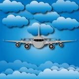 Vector el ejemplo del avión en el cielo sobre las nubes ilustración del vector