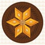 Vector el ejemplo del baklava en una placa redonda con un modelo tradicional Imagen de archivo libre de regalías