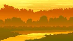 Vector el ejemplo del bosque con un río en la puesta del sol stock de ilustración