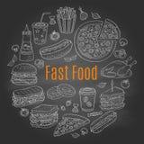 Vector el ejemplo del bosquejo de la circular de los alimentos de preparación rápida formada Imagen de archivo