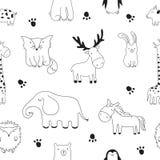 Vector el ejemplo del bosquejo de la historieta con los animales lindos del garabato Foto de archivo libre de regalías