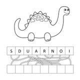 Vector el ejemplo del carácter lindo del dinosaurio de la historieta para los niños, coloreando stock de ilustración