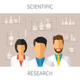 Vector el ejemplo del concepto de la investigación científica con los científicos en laboratorio químico stock de ilustración