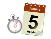 Vector el ejemplo del concepto de la sincronización con el stoper y el calendario Fotos de archivo libres de regalías
