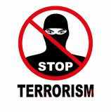Vector el ejemplo del concepto del fondo del terrorismo de la parada, aislado en un fondo blanco Fotos de archivo libres de regalías