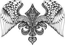 Vector el ejemplo del corazón, de la corona y de la manzana cons alas Corazón retro dibujado mano del vuelo del tatuaje Foto de archivo