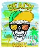 Vector el ejemplo del cráneo, del verano y de la playa ilustración del vector