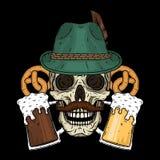 Vector el ejemplo del cráneo más oktoberfest en sombrero tirolés, con los pretzeles y los vidrios de cerveza Foto de archivo libre de regalías