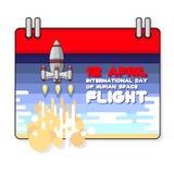 Vector el ejemplo del día internacional de vuelo espacial humano Foto de archivo