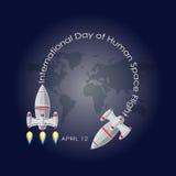 Vector el ejemplo del día internacional de vuelo espacial humano Imágenes de archivo libres de regalías