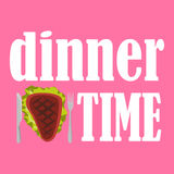 Vector el ejemplo del dinnertime con el filete, el cuchillo y la bifurcación fritos en fondo rosado Fotografía de archivo libre de regalías