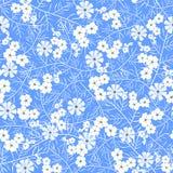 Vector el ejemplo del estampado de plores blanco y azul inconsútil Fotografía de archivo libre de regalías