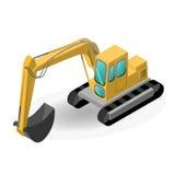 Vector el ejemplo del excavador, construcción isométrica Fotografía de archivo