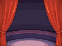 Vector el ejemplo del fondo con la cortina y la arena rojas Foto de archivo