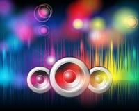 Fondo de la música con las luces del arco iris que brillan Fotos de archivo libres de regalías