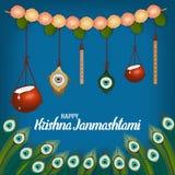 Vector el ejemplo del fondo feliz de Krishna Janmashtami con el pote de crema Dahi Handi foto de archivo