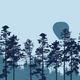 Vector el ejemplo del globo del aire caliente que vuela sobre bosque con s Fotografía de archivo