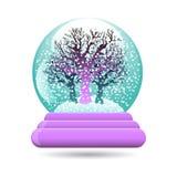 Vector el ejemplo del globo de la nieve con un árbol Ilustración del Vector