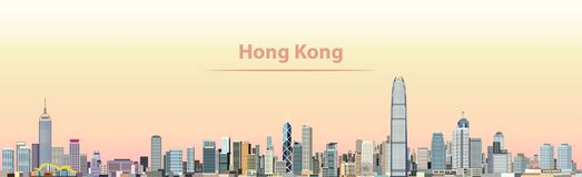 Vector el ejemplo del horizonte de la ciudad de Hong Kong en la salida del sol