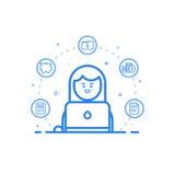 Vector el ejemplo del icono azul en la línea estilo plana Concepto de diseño gráfico del contable financiero de la mujer stock de ilustración