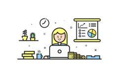 Vector el ejemplo del icono del color en la línea estilo plana Concepto de diseño gráfico del contable financiero de la mujer libre illustration