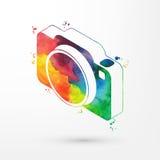Vector el ejemplo del icono isométrico de la cámara de la acuarela, pinturas del arco iris libre illustration