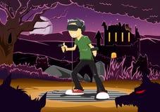Vector el ejemplo del individuo que juega al juego del horror vía las auriculares de VR Imágenes de archivo libres de regalías